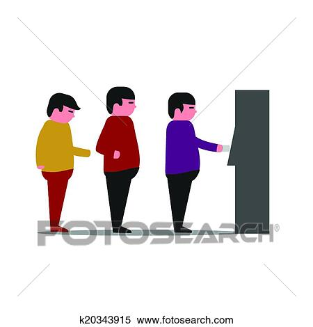 clipart of line of people at a bank atm machin k20343915 search rh fotosearch com Line Leader Clip Art People Waiting Clip Art