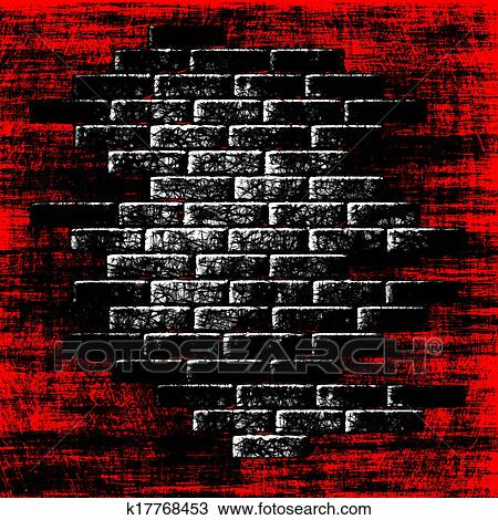 Drawing Of Grungy Red Abstract Background With Dark Bricks Inside
