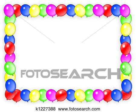stock illustration - geburtstagseinladung, luftballone, rahmen, Einladungsentwurf