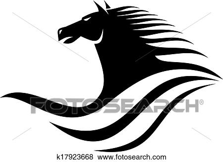 clip art dynamische pferdekopf symbol k17923668. Black Bedroom Furniture Sets. Home Design Ideas