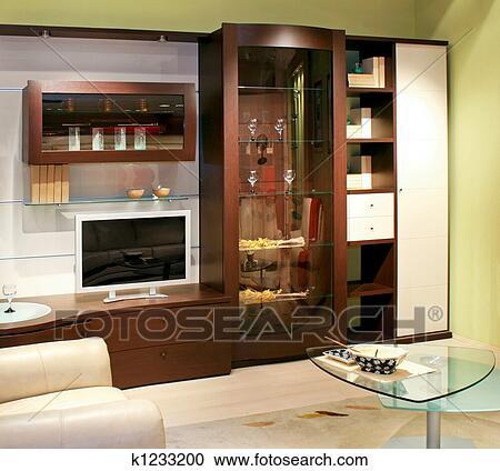 Stock Fotografie - wohnzimmer, wandschrank k1233200 ...