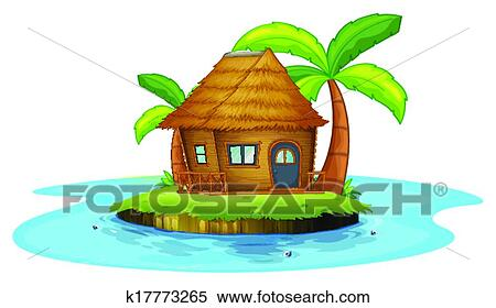 Nipa Hut Cartoon With a Small Nipa Hut