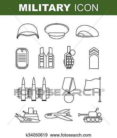 Clip Art of Military line icon. Set army symbol. Soldiers helmet ...