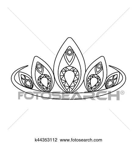 剪贴画 - 王冠, 图标, 在中, 概述, 风格, 隔离, 在怀特上, 背景.