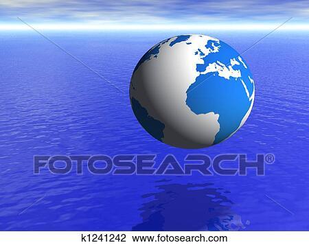 写真素材・動画素材・イラスト素材クリップアート - 惑星地球, 地球, 上に, 青い海洋, そして, 曇った空