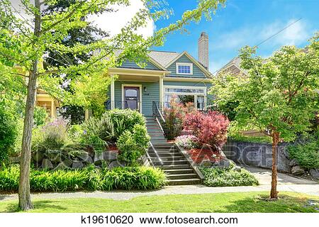 Stock Photography of House exterior with beautiful curb appeal ...