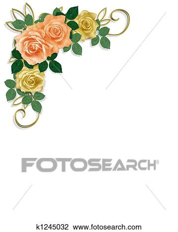Clip Art   Roses Template Wedding Invitation . Fotosearch   Search Clipart,  Illustration Posters,