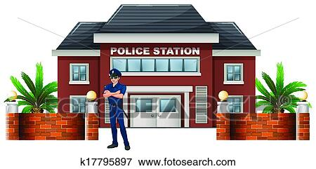 clip art of a policeman standing in front of the police station rh fotosearch com police station clipart images police station clipart png