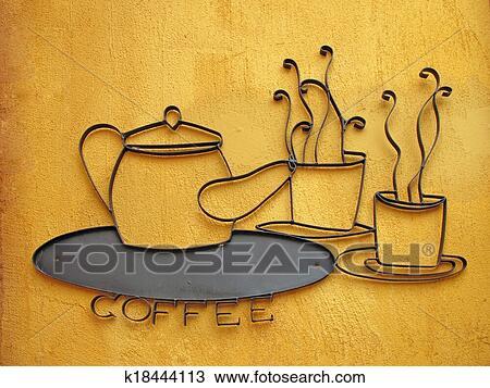手绘图 - 咖啡, 签署
