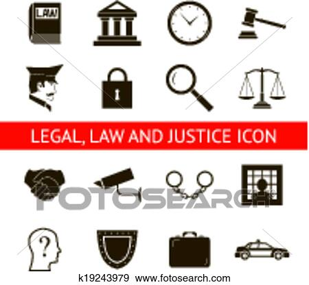 Clip Art Of Law Legal Justice Icons And Symbols Isolated Silhouette
