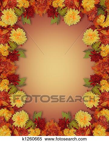 Stock Illustration Of Fall Leaves And Flowers Border K1260665