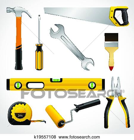 Clip Art of Realistic carpenter tools icons collection ...