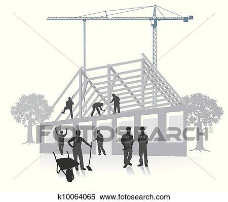 Haus bauen clipart  Clipart - haus, bauen konstruktion, arbeit k10064065 - Suche Clip ...
