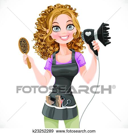 Clip Art of Pink hair dryer with concentrator, scissors and comb ...
