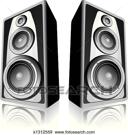 audio speakers clipart. clip art - speakers on white background. fotosearch search clipart, illustration posters, audio clipart