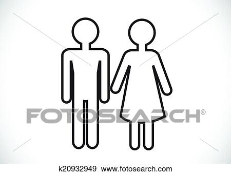 Clip Art of Pictogram Man Woman Sign icons, toilet sign or ...