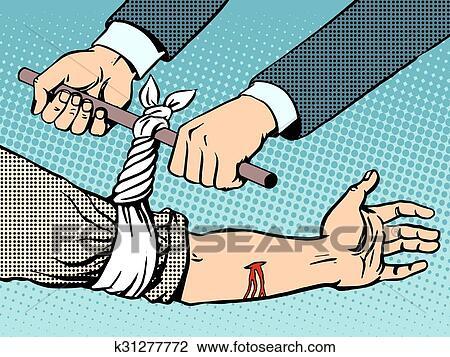 剪贴画 - 绷带, 为了停止, the, 流血, 在之后, 是, 受伤.图片