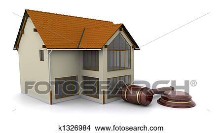 手绘图 - 房子, 为, 拍卖