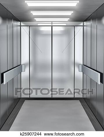 Drawing - Modern elevator with opened door. Fotosearch - Search Clip Art Illustrations Wall & Drawings of Modern elevator with opened door k25907244 - Search ...
