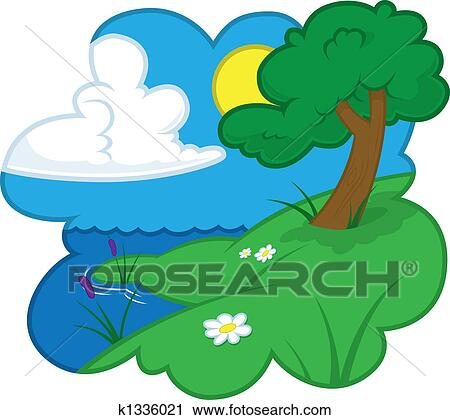Clipart of Summer country scene k1336021 - Search Clip Art ...