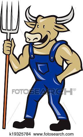 clipart of farmer cow holding pitchfork cartoon k19325784 search rh fotosearch com asu pitchfork clipart