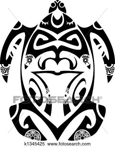 Clipart maori tribal tortue tatouage style for Cavalluccio marino maori