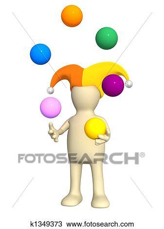 手绘图 - 3d, 小丑,
