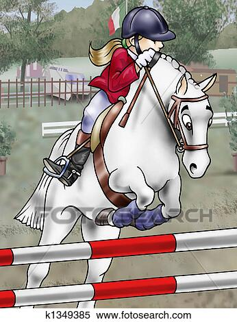 Stock Illustration Of Horse Jumping K1349385 Search