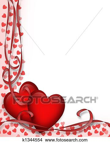 drawings of valentines day red hearts border k1344554 - search, Ideas