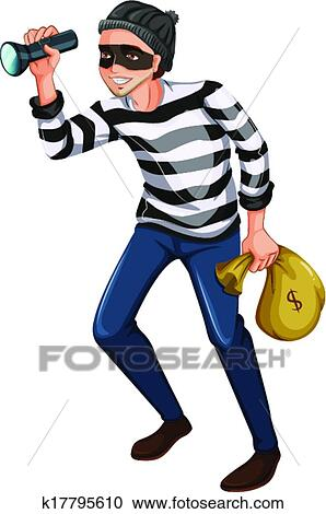 clipart of a robber with a flashlight and a bag k17795610 search rh fotosearch com robber mask clipart robber clip art free