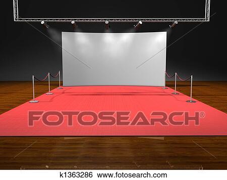 stock illustration rot buehne beleuchtung auf schwarzer hintergrund k1363286 suche clip. Black Bedroom Furniture Sets. Home Design Ideas