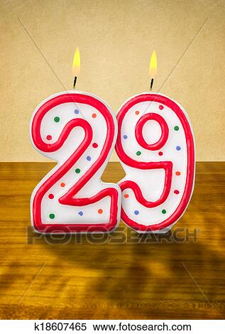 Stock Illustration of Burning birthday candles number 29 k18607465 on