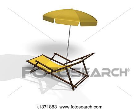 手绘图 海滩椅子, 在怀特上, 背景