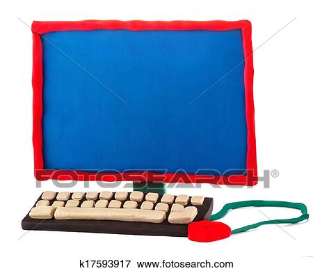 Picture of Plasticine handmade computer on a white background k17593917 - Search Stock Photography, Photos, Prints, Images, and