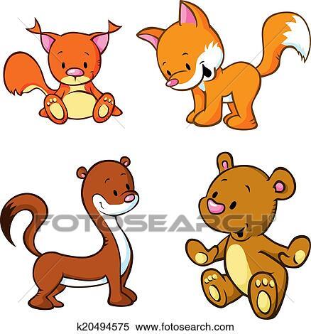 clipart of fox bear weasel and squirrel cute animals cartoon rh fotosearch com weasel clipart free weasel cartoon clipart