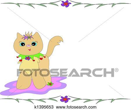 手绘图 - 猫, 带, 竹子