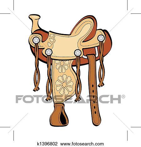 Clipart selle occidental cheval agrafe k1396802 - Clipart cheval gratuit ...