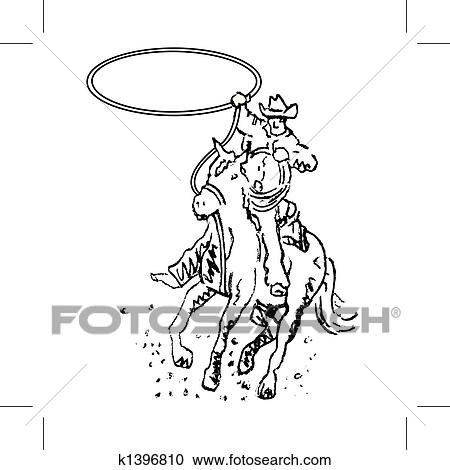 Clipart Of Rodeo Rider Western Cowboy Line Art K1396810