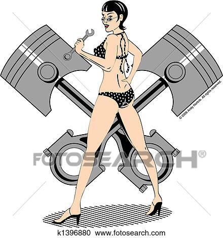 clipart of sexy pinup girl clip art k1396880 search clip art rh fotosearch com