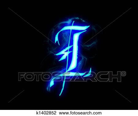 clip art of blue flame magic font over black background. letter i