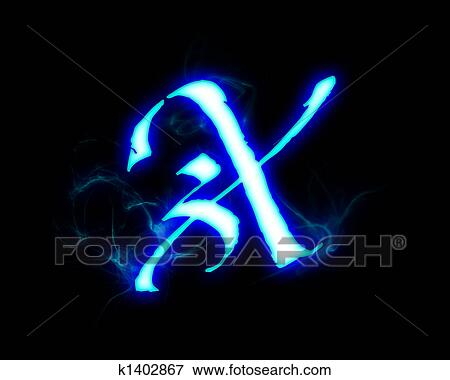 Stock Illustration of Blue flame magic font over black ...