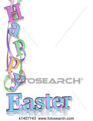 Drawing of Happy Easter Border k1407743 - Search Clipart ...