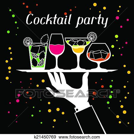 clip art party einladung mit alkohol getr nke und cocktails k21450769 suche clipart. Black Bedroom Furniture Sets. Home Design Ideas