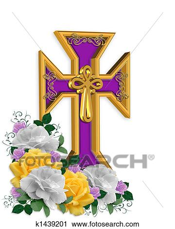 Clipart of Easter Cross and flowers Background k1439201 - Search ...