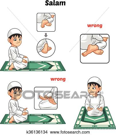 Clipart of Muslim Prayer Position Guide Step by Step ...