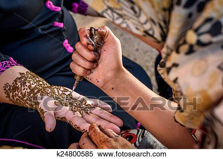 Mehndi Tattoo For Hand : Stock image of henna tattoo hand painting in morocco k24800585