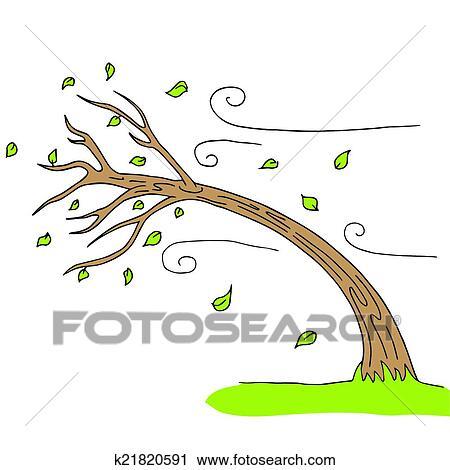 Clipart of wind blown tree k21820591 search clip art - Dessiner le vent ...