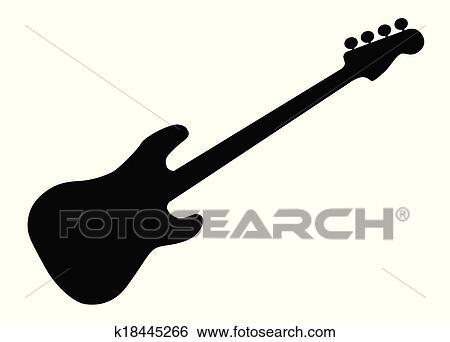 Clip Art Of Bass Guitar Silhouette K18445266