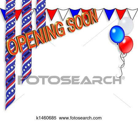 stock illustration of grand opening soon border k1460685 search rh fotosearch com grand opening clip art free free clipart grand opening sign