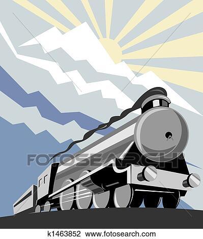 Clip Art of Steam train k1463852 - Search Clipart ...